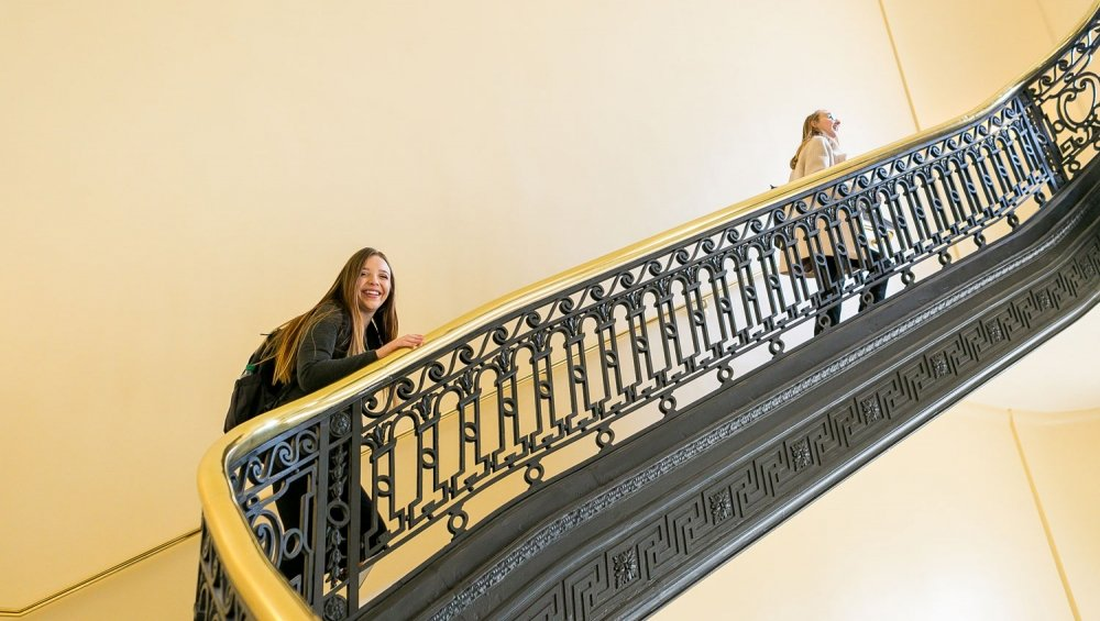 Intern on stairs on Capitol Hill