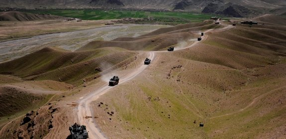U.S. Air Force members teamed with French military member's convoy across Southern Afghanistan on a resupply mission, March 13, 2010.