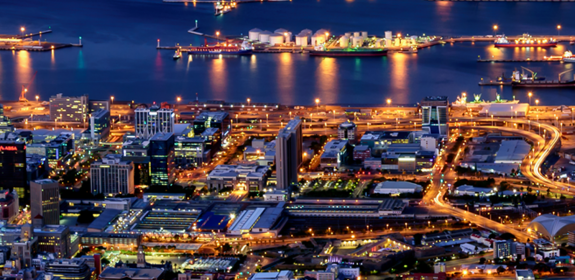 Table Bay and Harbor in Cape Town during Blue Hour circa February 2019