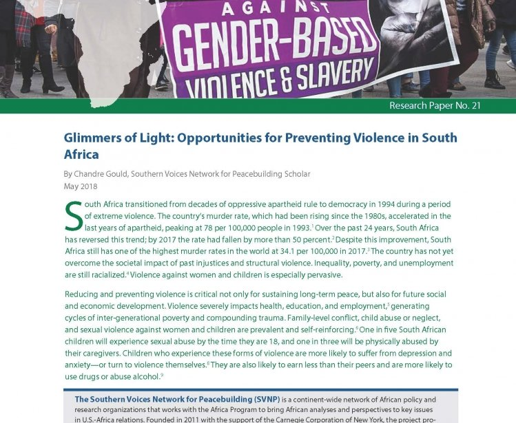 Glimmers of Light: Opportunities for Preventing Violence in South Africa