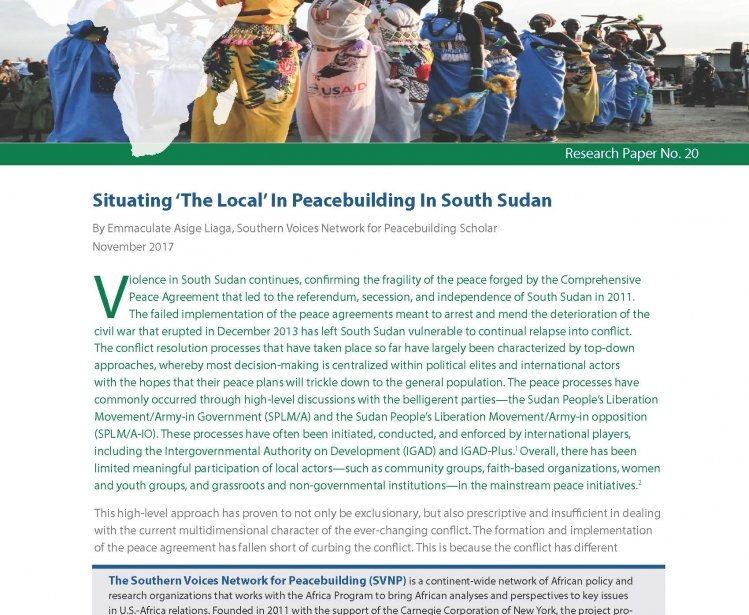 Narrowing the Gap between Local and International Peacebuilding Efforts in South Sudan