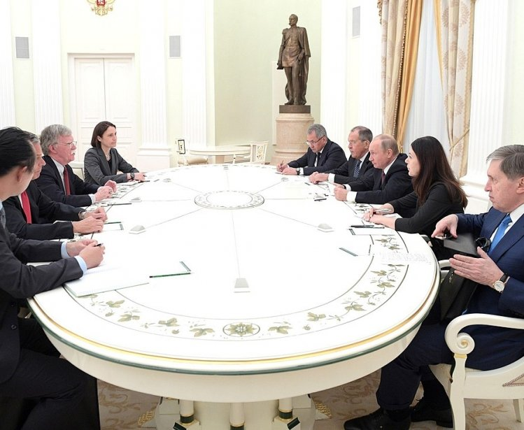 Meeting of Russian president, Vladimir Putin, with U.S. National Security Advisor John Bolton, Fiona Hill, et al., June 2018