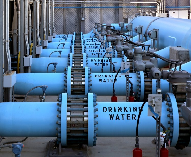 Image of blue desalination pipes