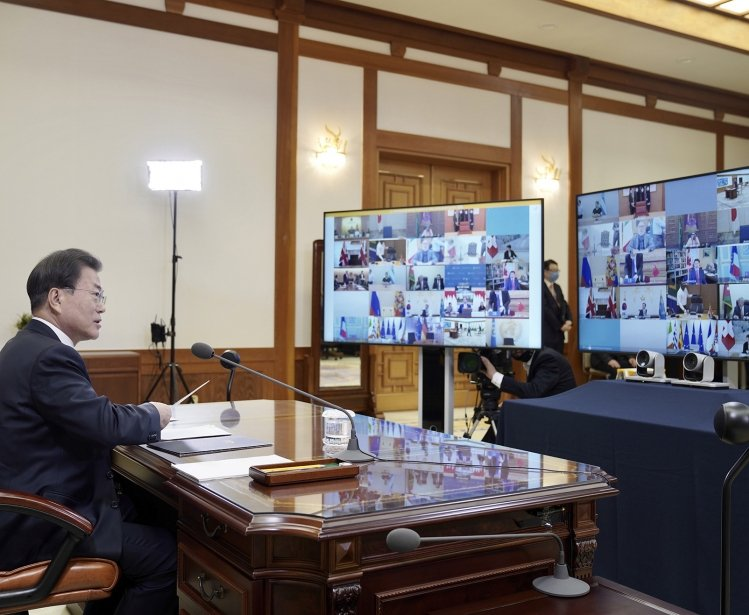 South Korean President Moon Jae-in attends the G-20 virtual summit.
