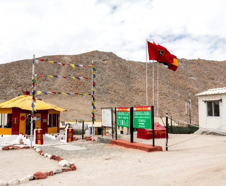 An Indian Army base at Chang La pass in Ladakh, India.