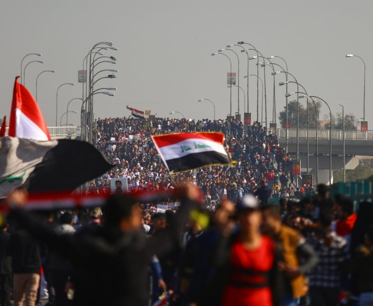 Students protesting in Iraq