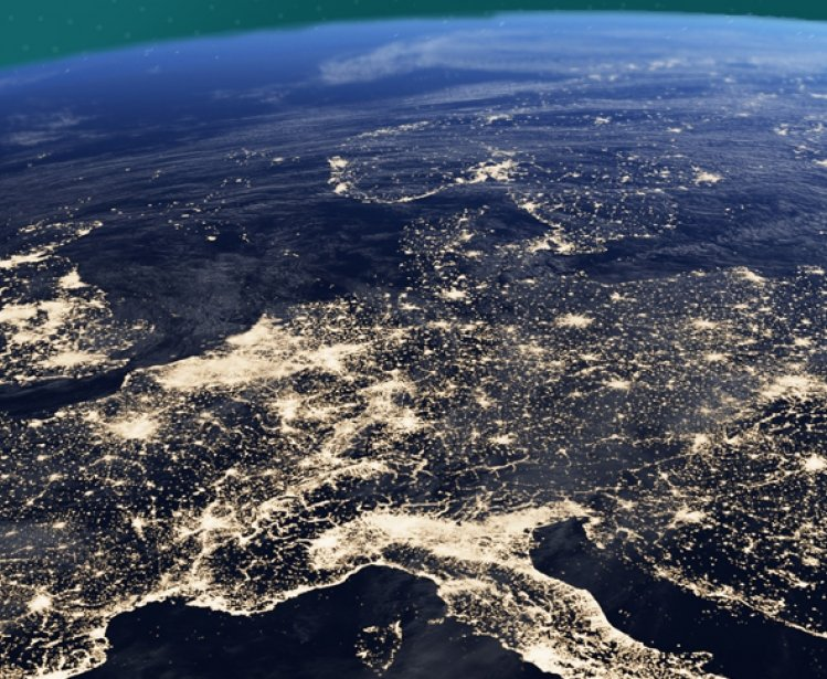 Photo of Europe at night from space