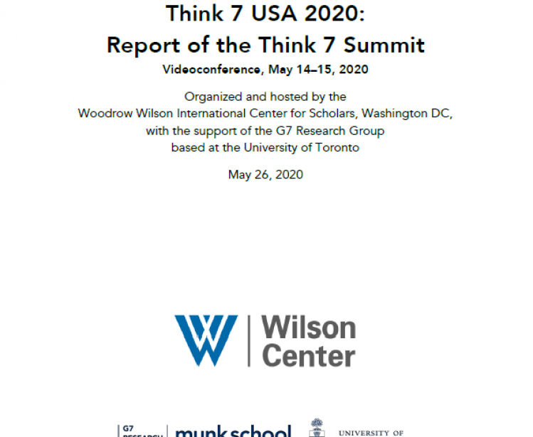 Think 7 USA 2020: Report of the Think 7 Summit Report Cover Page