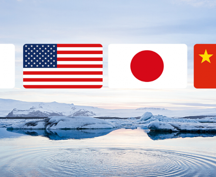 Photo of Arctic overlaid with flags of Japan, USA, China and South Korea