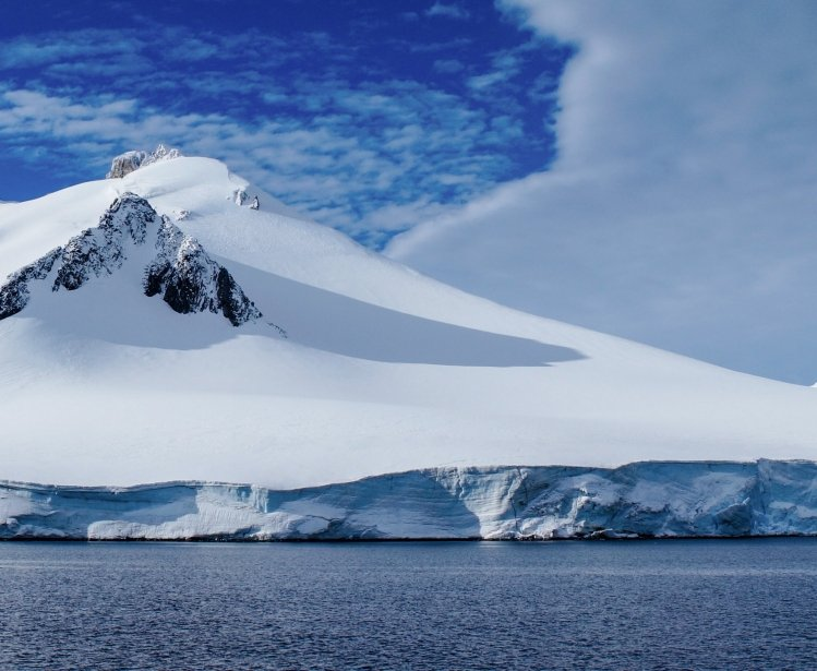 Neumayer channel full of Icebergs in Antarctica