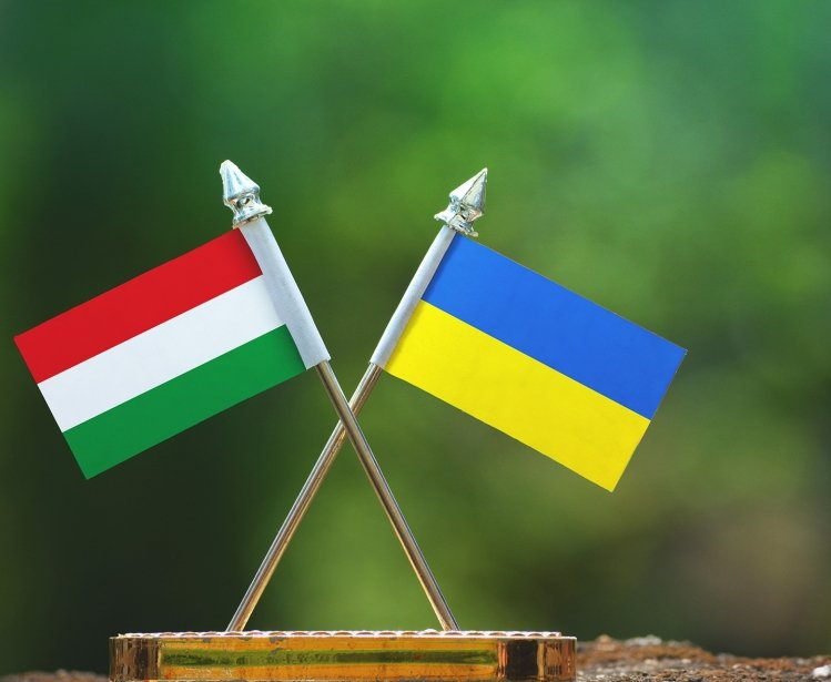 Hungarian and Ukrainian flags