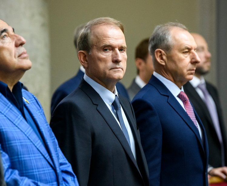The leader of the Opposition Platform-For Life, Viktor Medvedchuk (C) during a session of the Ukrainian Parliament in Kyiv, Ukraine, 29 August 2019.