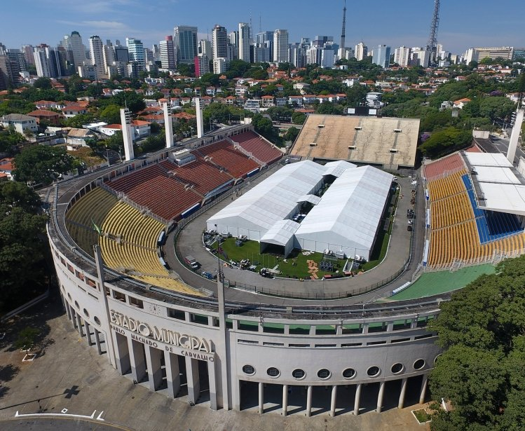 Sao Paulo Municipal Stadium with Hospital Tent COVID