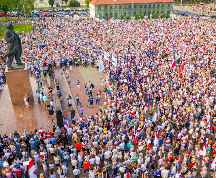 Grodno, Belarus August 17, 2020: Peaceful protests in Belarus.