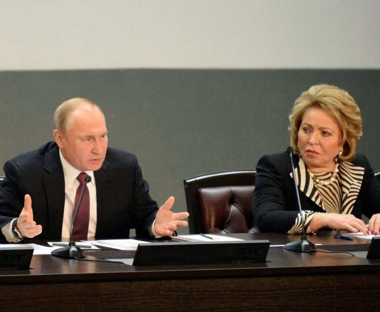 FEBRUARY 28, 2019:Russian President Vladimir Putin and the President of the Council of Federation of the Federal Assembly of the Russian Federation Valentina Matvienko.