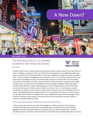 A New Dawn? The New Realities of U.S.-Taiwan Economic and Trade Relations