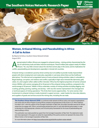 Women, Artisanal Mining, and Peacebuilding in Africa: A Call to Action