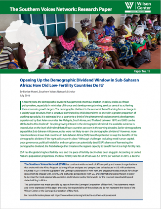 Opening Up the Demographic Dividend Window in Sub-Saharan Africa: How Did Low-Fertility Countries Do It?