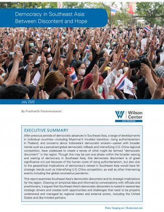 Cover of report with image of protestors in Thailand during a pro-democracy demonstration.