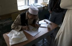 Afghan election worker, photo courtesy of USAID
