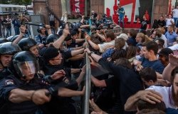 Protesters clash with police at a recent protest in Moscow. Source: Varlamov.ru, CC-BY-SA 4.0