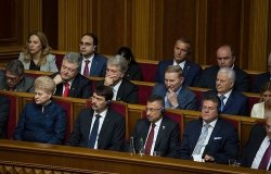Ukrainian lawmakers at the presidential inauguration of Volodymyr Zelenskyy. Source: Wikimedia Commons.