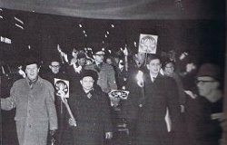 Swedish leader Olof Palme demonstrates against the war with the North Vietnamese ambassador to Moscow during a a torchlight march, February 1968. Source: Public Domain. Arbetarrörelsens arkiv, via WikiCommons.