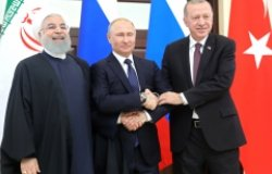 Russian President Vladimir Putin with Iranian President Hassan Rouhani (left) and Turkish President Recep Tayyip Erdogan. Source: Kremlin.ru
