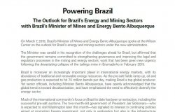 Event Transcript: Powering Brazil - The Outlook for Brazil's Energy and Mining Sectors, with Minister Bento Albuquerque