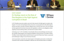 Event Summary: Dr. Rodrigo Janot on the Role of Plea Bargains in the Fight Against Corruption in Brazil