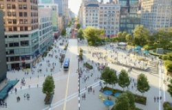 14th Street Looking West: Rendering for the Union Square Vision Plan.  Marvel, courtesy of Union Square Partnership. 2021.