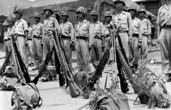 Soldiers of the Republic of Korea during an inspection, 1950