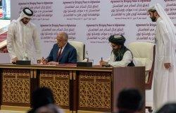 U.S. Special Representative for Afghanistan Reconciliation Ambassador Zalmay Khalilzad participates in a signing ceremony in Doha, Qatar. (DoS photo)