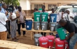Hand-washing station for Covid-19 prevention in Sierra Leone