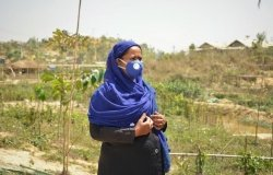 Mobina Khatun (45-year-old) is one of the 40 Rohingya Women Volunteers working with UN Women to mobilize their communities on crucial issues within different camps in Ukhiya.