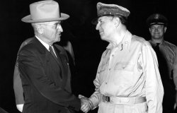 President Harry S. Truman and General Douglas MacArthur at President Truman's arrival at the Wake Island Conference, October 15, 1950.