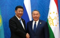 President of China Xi Jinping and President of Kazakhstan Nursultan Nazarbayev before the meeting of the Council of Heads of State of the Shanghai Cooperation Organisation (SCO).