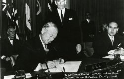 Herman Phleger signs the Antarctic Treaty on December 1, 1959. Source: ATS Image Bank,CC BY-NC-SA 3.0