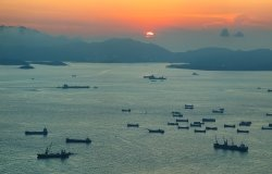 View of sunset over the South China Sea from Hong Kong