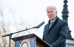 Joseph Biden speaking at a podium