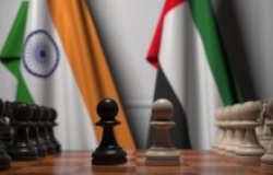 Flags of India and UAE behind pawns on the chessboard.