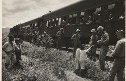 A black and white photo of U.S. Soldiers standing next to a stopped train, handing out candy to South Korean children.