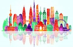 A colorful stylized skyline graphic featuring famous buildings in Asia.