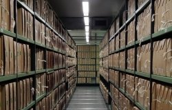 A corridor of files at The National Archives UK