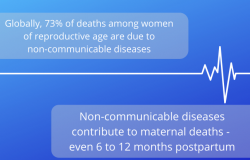 Globally, 73% of deaths among womenof reproductive age are due to non-communicable diseases;Non-communicable diseases contribute to maternal deaths -even 6 to 12 months postpartum