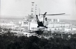 Helicopter spraying decontamination liquid over Chernobyl.