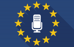 Illustration of a long shadow EU flag with a microphone sign