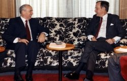 President Bush and General Secretary Gorbachev meet aboard the Gorky, 02 Dec 89