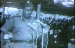 General Idi Amin speaking in rural area after seizing power in Uganda in 1971.