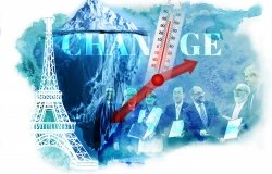 Climate Change illustration with glacier, Eiffel Tower, thermometer, and leaders at the signing of the Paris Climate Agreement